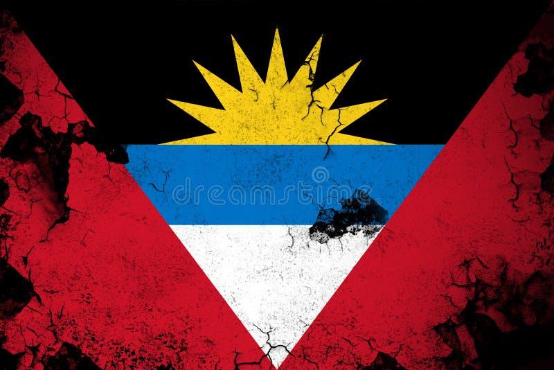Illustration rouillée et grunge d'Antigua et de Barbuda de drapeau illustration stock