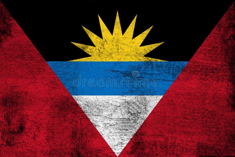 Illustration rouillée et grunge d'Antigua et de Barbuda de drapeau illustration de vecteur