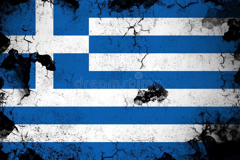 Illustration rouillée et grunge de la Grèce de drapeau illustration stock