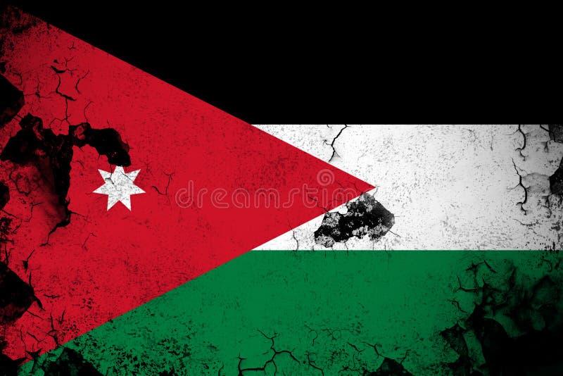Illustration rouillée et grunge de la Jordanie de drapeau illustration de vecteur