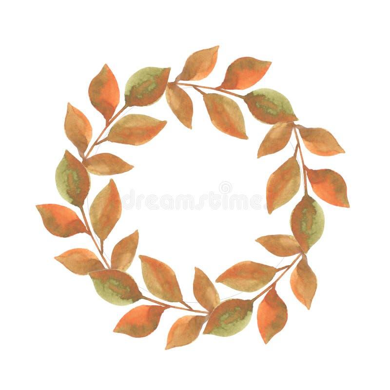 Watercolor illustration of round leaf frame royalty free illustration