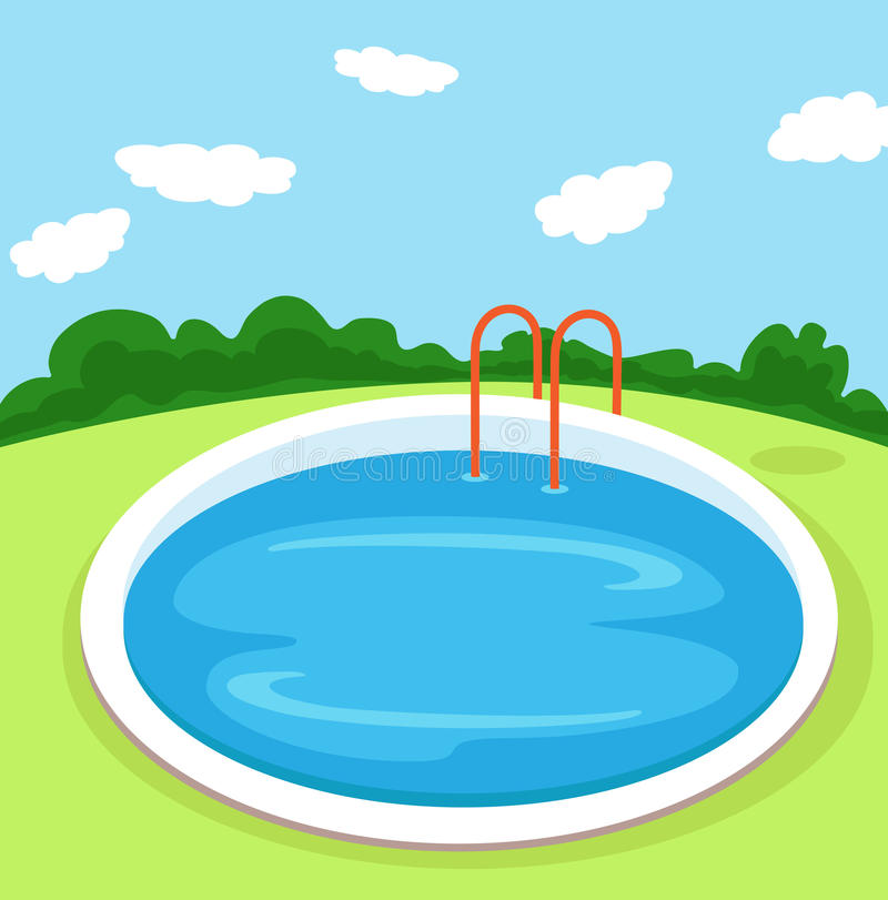 Illustration of a round pool in the yard. vector illustration