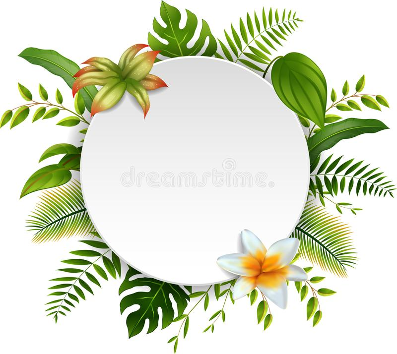 Round Sign with text space of Tropical Leaves vector illustration
