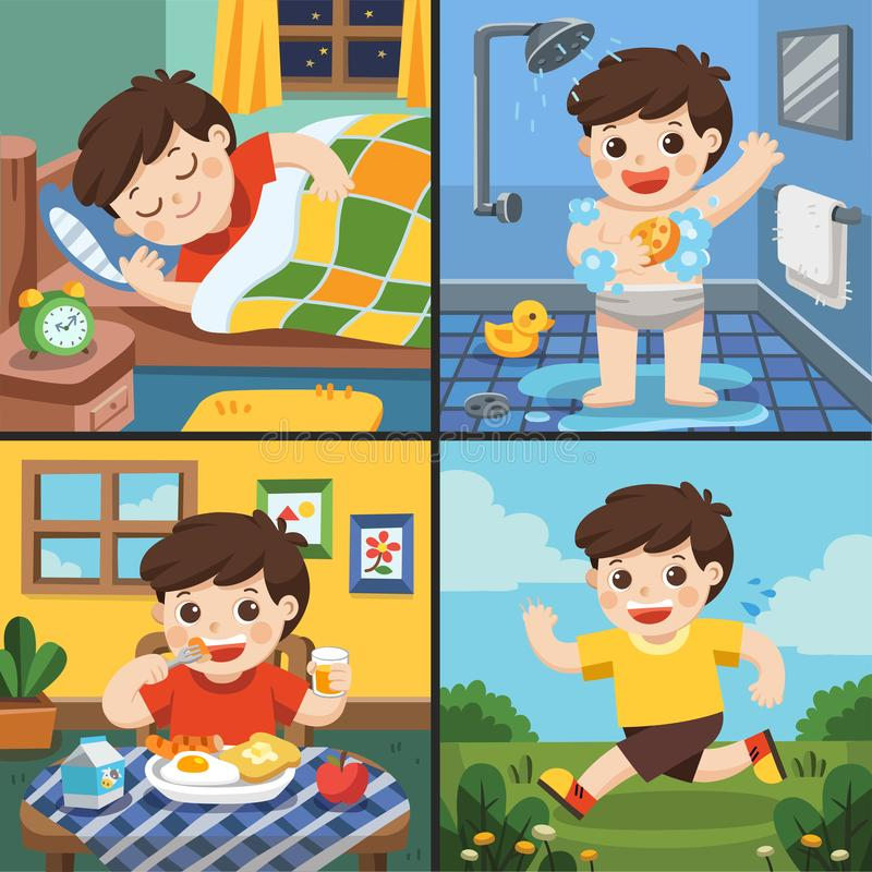 Illustration of The daily routine of a cute boy. [sleep, take a bath, eat, running stock illustration