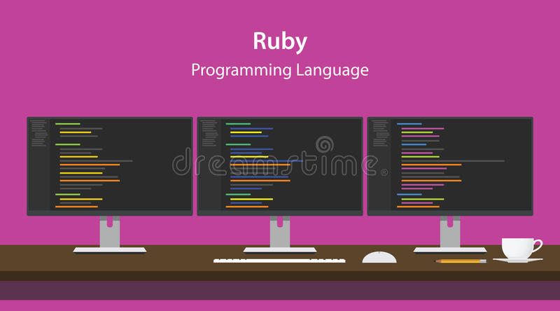 Illustration of Ruby programming language code displayed on three monitor in a row at programmer workspace. Vector vector illustration