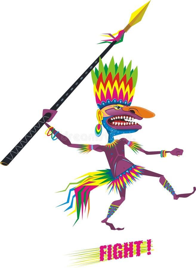 Aborigine. An illustration of running aborigine with a spear royalty free illustration