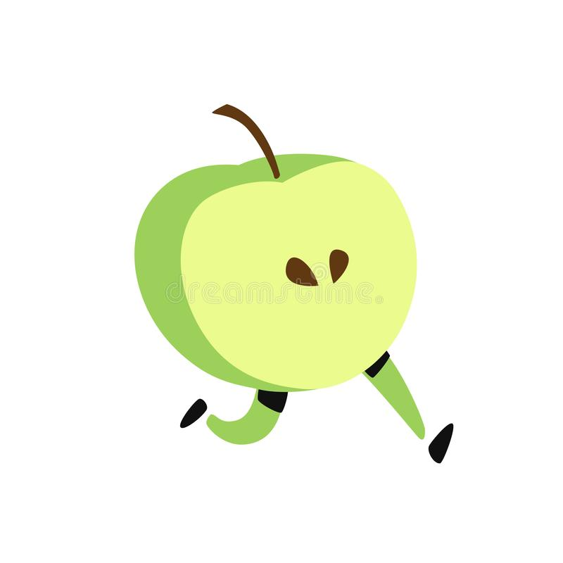 Illustration of a running apple. Vector. Icon of tasty green fruit. Flat cartoon style. Delivery service logo. Emblem for eco prod stock illustration