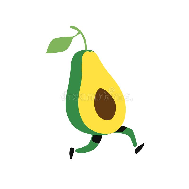 Illustration of a running avocado. Vector. Icon of tasty green fruit. Flat cartoon style. Delivery service logo. Emblem for eco pr stock illustration