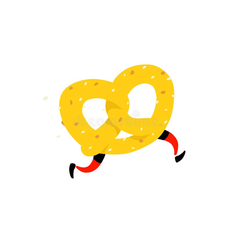 Illustration of a running bagel. Running pretzels. Vector. Crunchy character with legs. Icon for the site. Sign, logo for the stor royalty free illustration