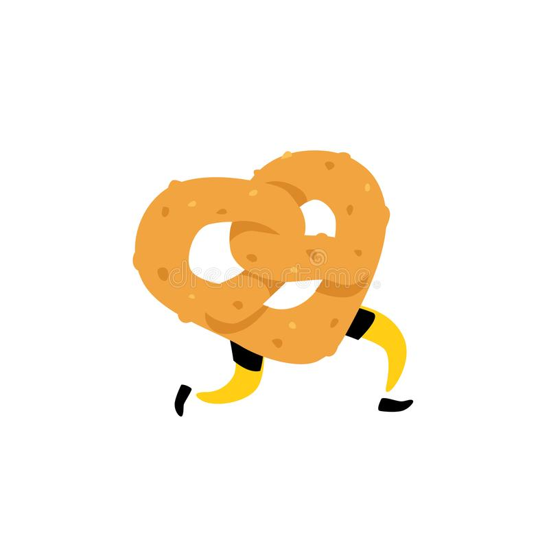 Illustration of a running bagel. Running pretzels. Vector. Crunchy character with legs. Icon for the site. Sign, logo for the stor. E. Delivery of fresh bakery vector illustration