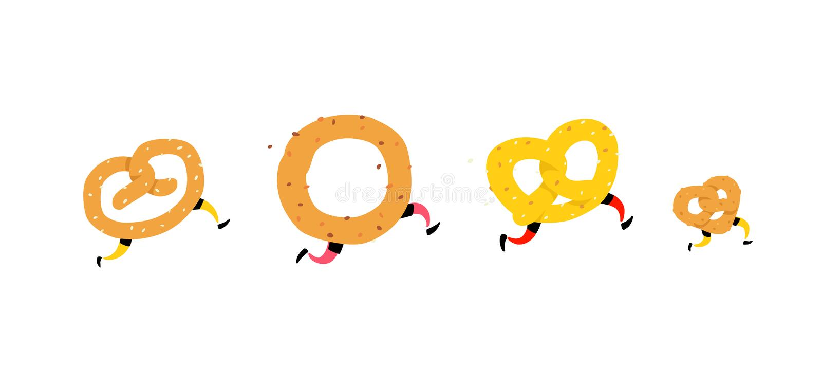Illustration of running bagels. Running pretzel with friends. Vector. Crunchy characters with legs. Icons for sites. Sign, logo fo. R the store. Delivery of royalty free illustration
