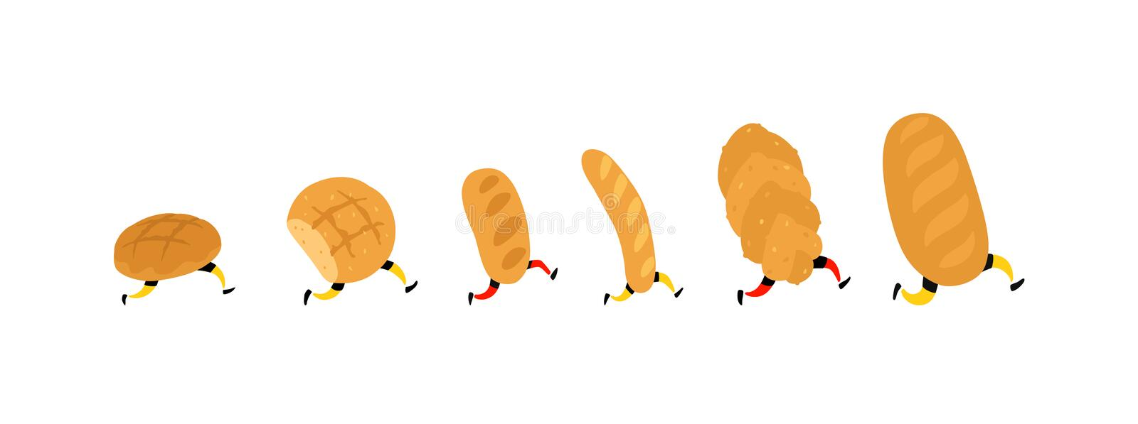 Illustration of running bread. Vector. Rolls, loaf and baguette. Icons for the site on a white background. Signs, logo for the sto stock illustration