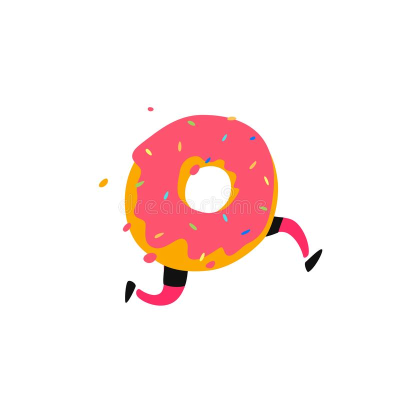 Illustration of a running donut. Vector. Sweet donut character with legs. Icon for site on white background. Sign, logo for the st royalty free illustration