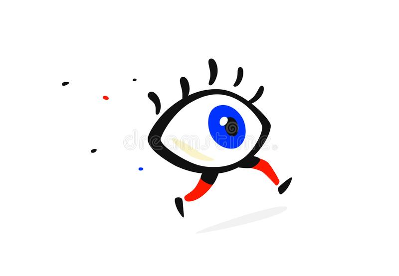 Illustration of a running eye. Vector. Cartoon flat style. Character for company and logo. Brand Eye Clinic. The whole thing icon royalty free illustration