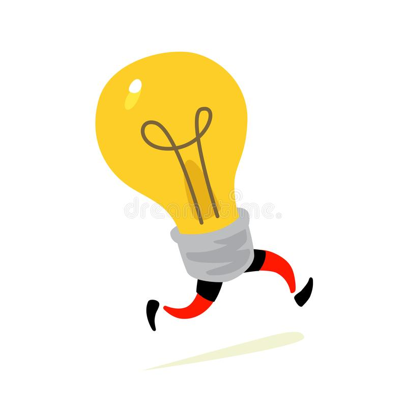 Illustration of a running light bulb. Vector. Character icon of a yellow lamp, light source. Metaphor of an idea coming to mind. C vector illustration