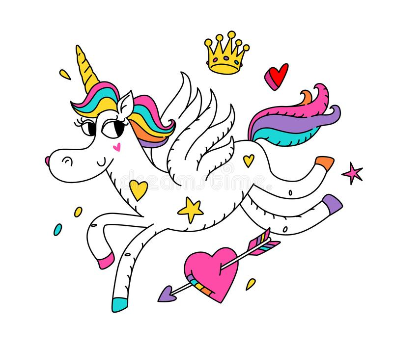 Illustration of a running magic unicorn with wings. Vector. Cartoon hero cute horse with a horn. Kawaii character. Mythical creatu vector illustration