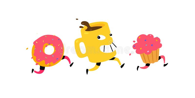 Illustration of running snacks. Vector. Characters cup of coffee, donut, muffin. Icons for the site on a white background. Sign, l royalty free illustration