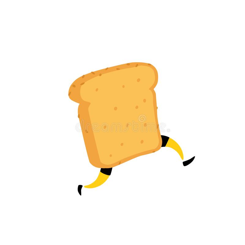 Illustration of a running toaster. Running a piece of bread. Vector. Crunchy character with legs. Icon for the site. Sign, logo fo. R the store. Delivery of stock illustration