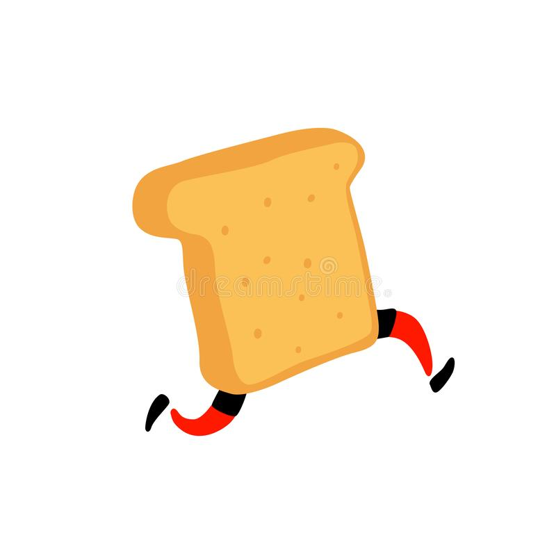 Illustration of a running toaster. Running a piece of bread. Vector. Crunchy character with legs. Icon for the site. Sign, logo fo royalty free illustration