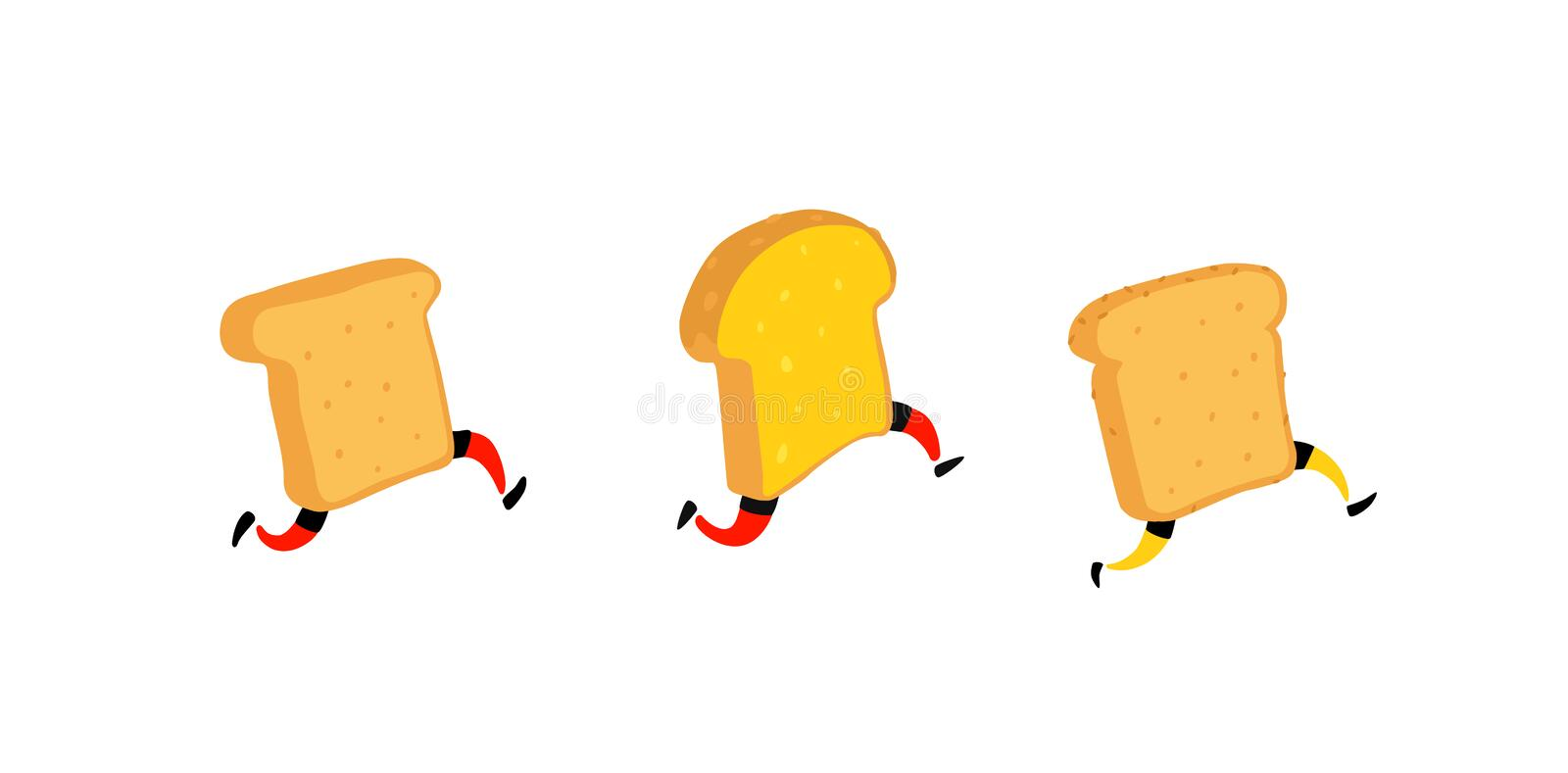 Illustration of running toasters. Running pieces of bread without butter and jam. Vector. Fry characters with legs. Icons for the vector illustration