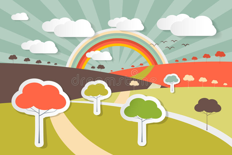 Illustration rurale de scène de paysage de nature illustration libre de droits