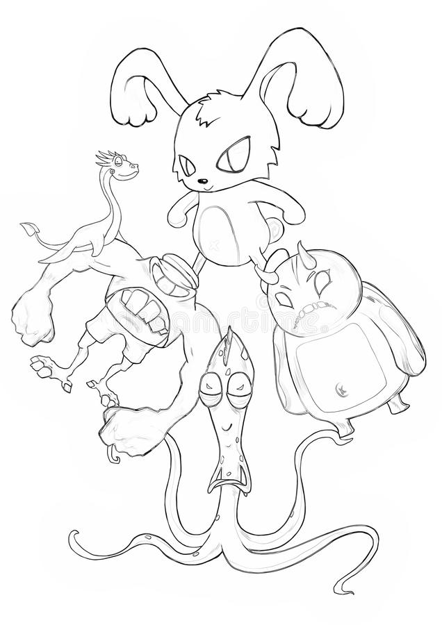 Illustration Serie De Livre De Coloriage Kung Fu Rabbit Et Ses Monstres De Mauvais Cul Du Battement Deux D Amis Illustration Stock Illustration Du Rabbit Monstres 71409281