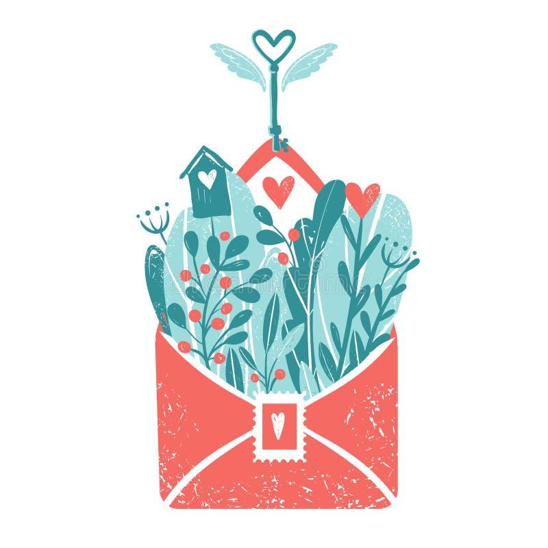 illustration s för hjärta för green för dreamstime för kortdagdesignen stylized valentinvektorn Kuvert med blommor och hjärtor, f stock illustrationer