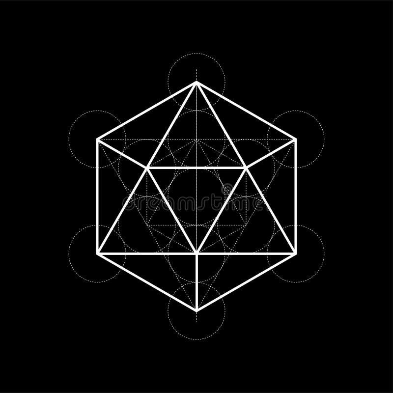 Illustration sacrée de la géométrie avec des lignes de construction sur le fond noir illustration stock