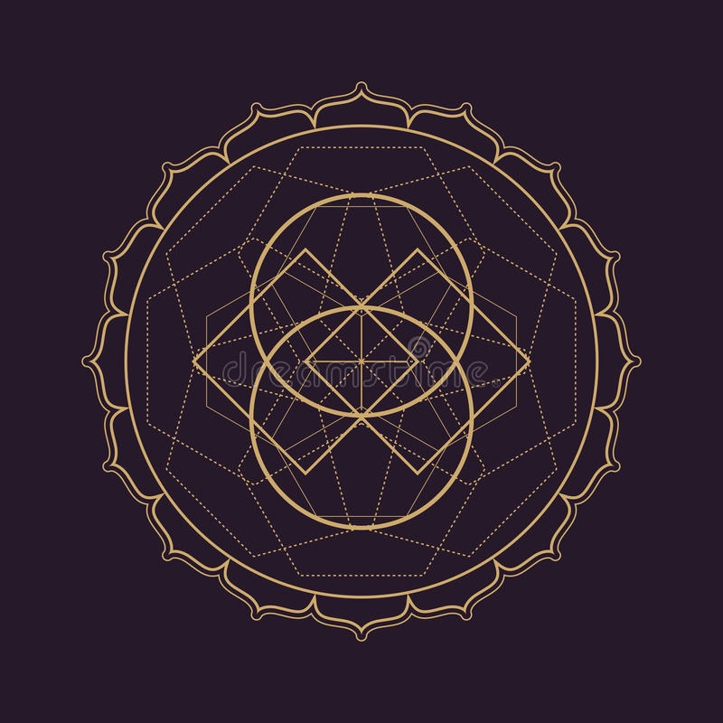 illustration sacrée de la géométrie de mandala de vecteur illustration de vecteur