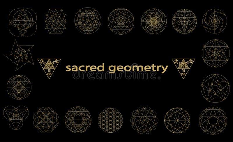 Illustration sacrée de vecteur de symboles et de signes de la géométrie Tatouage de hippie Fleur de symbole de durée illustration stock