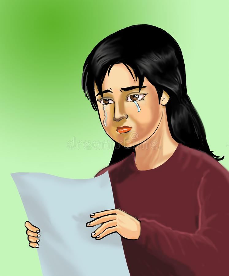 Free Illustration Sad Girl After See Her Exam Result Royalty Free Stock Photos - 162393498
