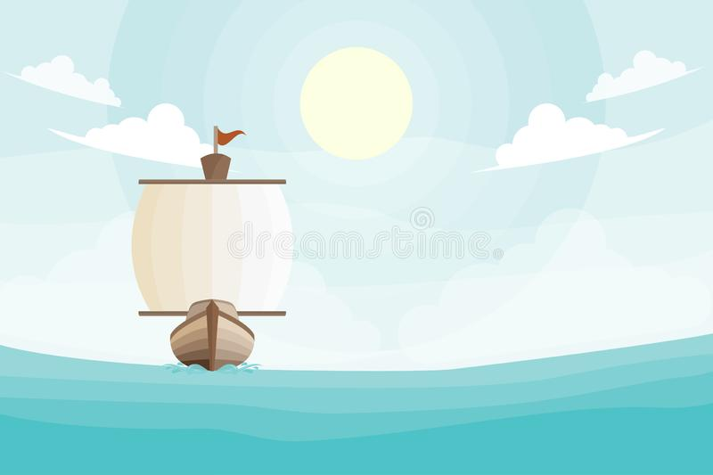 Sailboat in the ocean. Illustration of a sailboat moving through the ocean toward the viewer, with a sunny sky above stock illustration