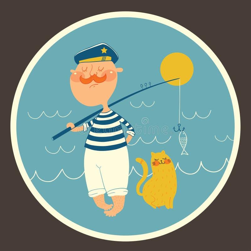 Illustration of sailor fishing near the sea stock photo