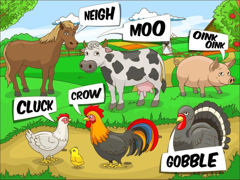 Illustration saine de bande dessinée d'entretiens d'animaux de ferme illustration de vecteur