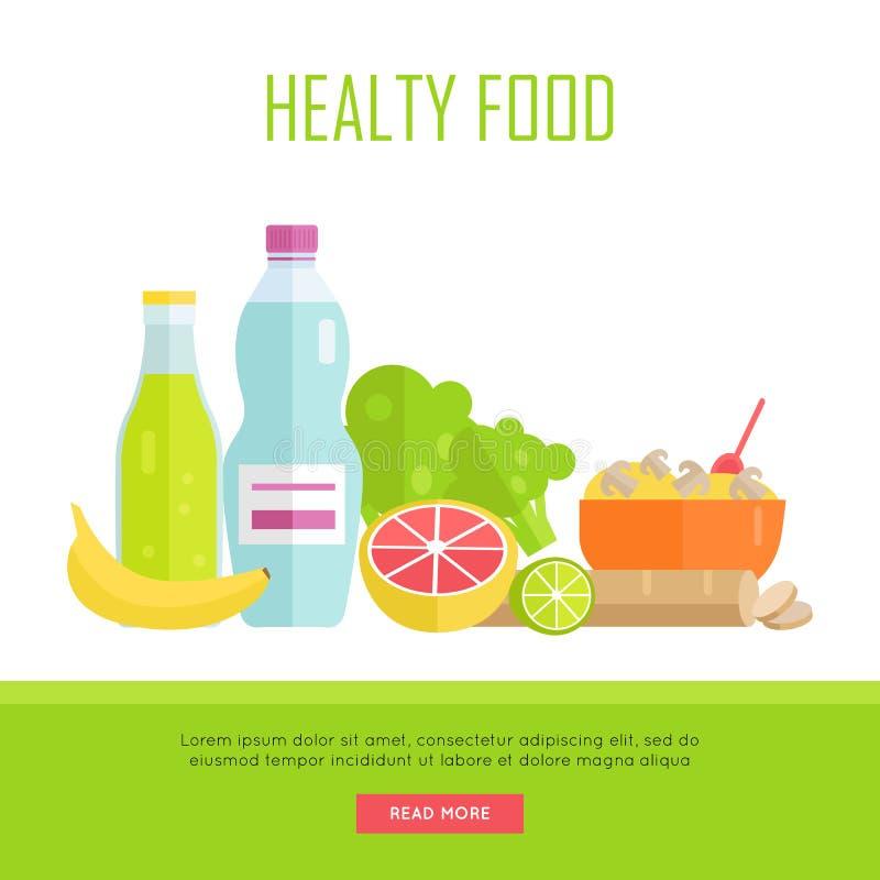 Illustration saine de bannière de Web de concept de nourriture illustration libre de droits