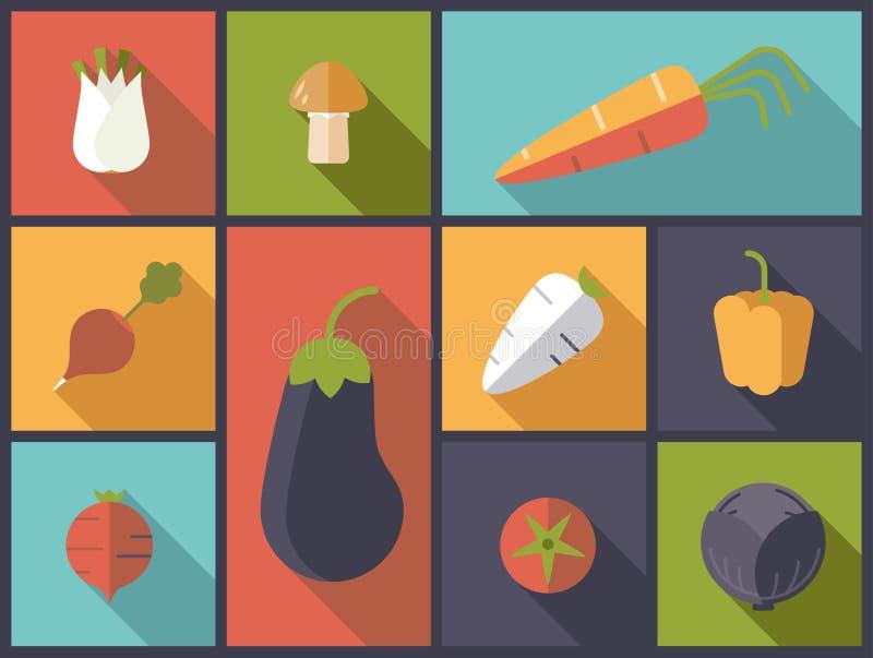 Illustration saine de vecteur d'icônes de légumes illustration libre de droits