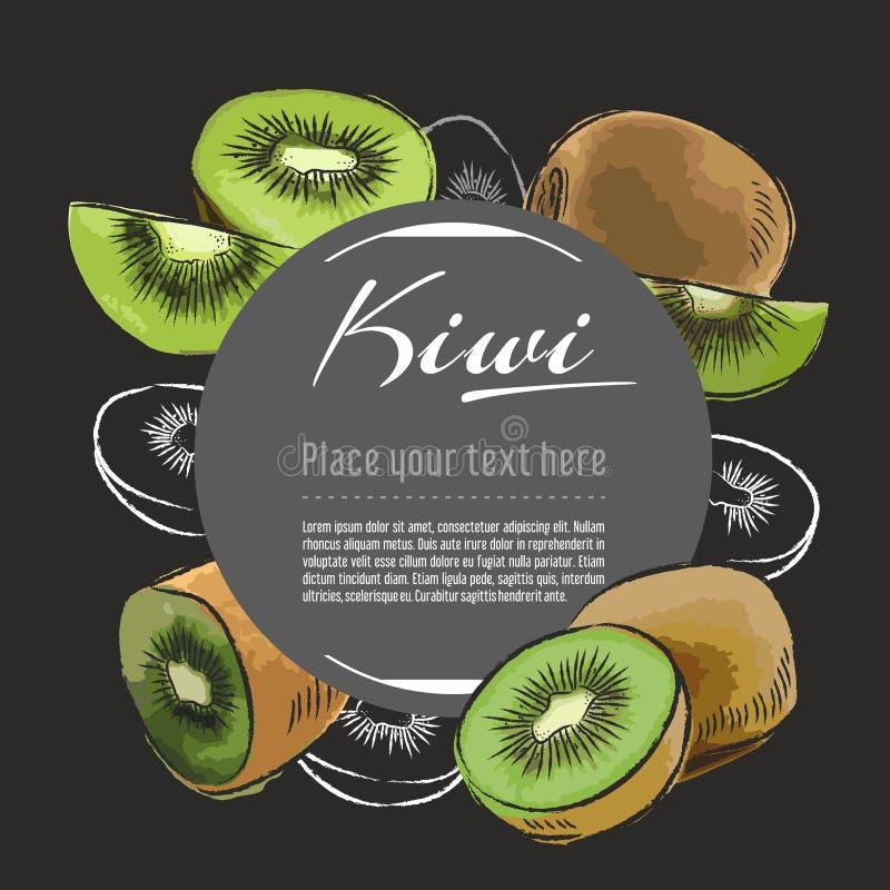 Illustration saine tirée par la main de nourriture de vecteur de kiwi Conception de fruit avec des éléments de croquis pour la ba illustration de vecteur