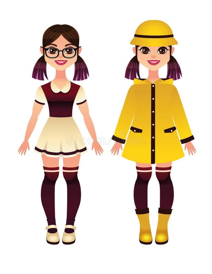 Illustration saisonnière colorée de vecteur des vêtements d'enfants illustration de vecteur
