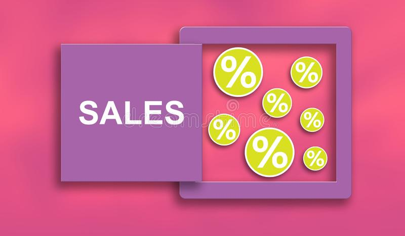 Concept of sales and discounts vector illustration