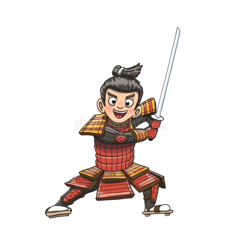 Illustration samouraï japonaise de bande dessinée de guerrier illustration de vecteur
