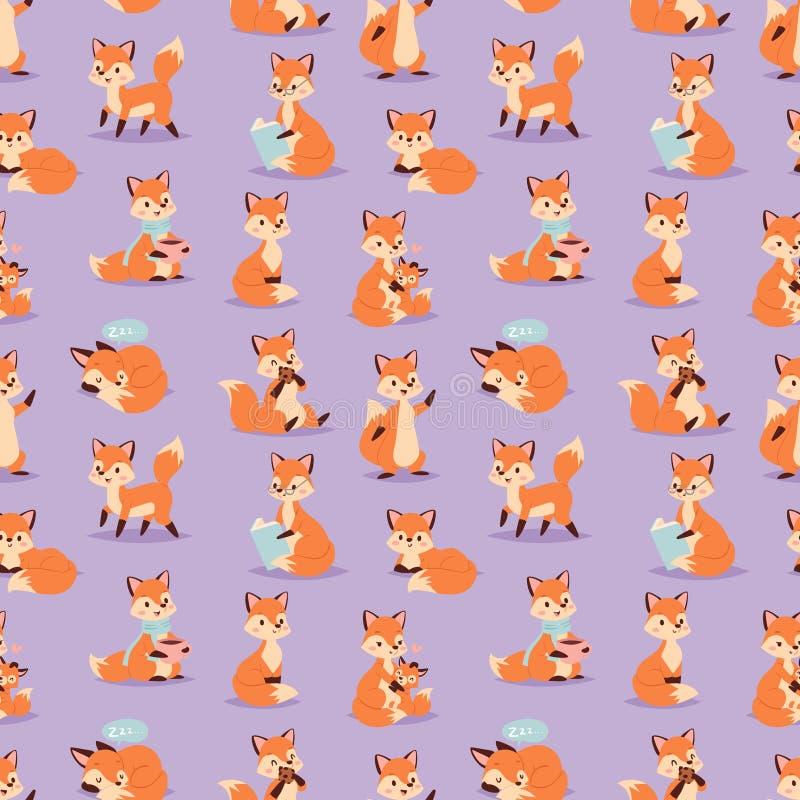 Illustration sans couture animale de vecteur de modèle de forêt orange drôle adorable mignonne de caractère de Fox illustration de vecteur