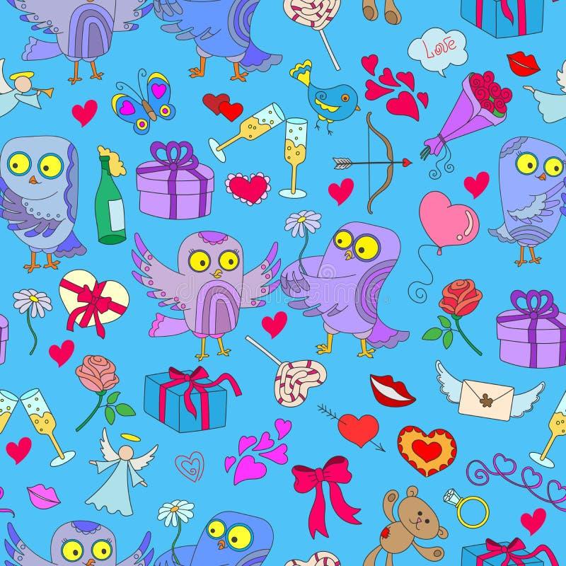 Illustration sans couture avec des hiboux dans le jour du ` s de Valentine d'amour Modèle sans couture avec les hiboux et les icô illustration de vecteur
