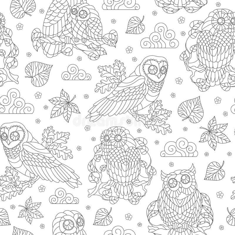 Illustration sans couture avec les hiboux, les feuilles et les fleurs abstraits, illustration foncée d'ensemble sur le fond blanc illustration stock