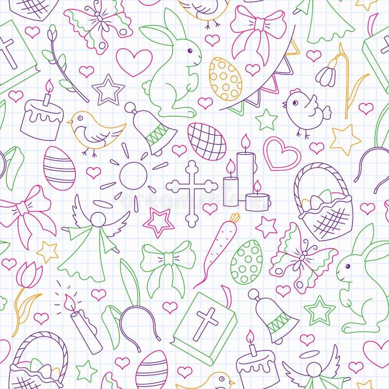Illustration sans couture avec les icônes simples de découpe sur un thème les vacances de Pâques, icônes colorées d'ensemble sur  illustration libre de droits
