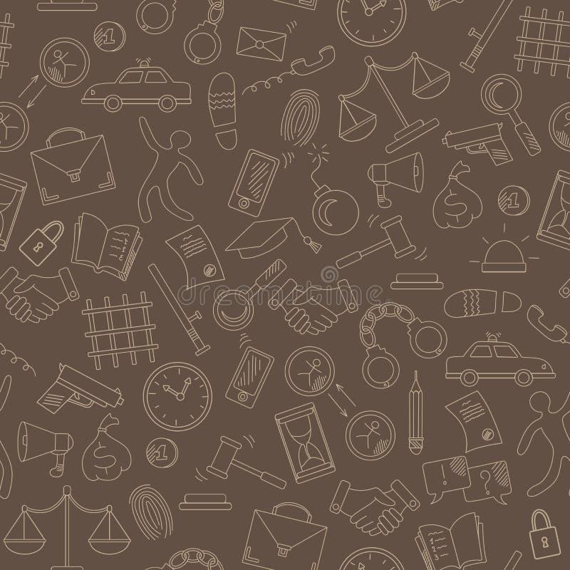 Illustration sans couture avec les icônes tirées par la main sur le thème de la loi et les crimes, contour beige sur un fond brun illustration libre de droits