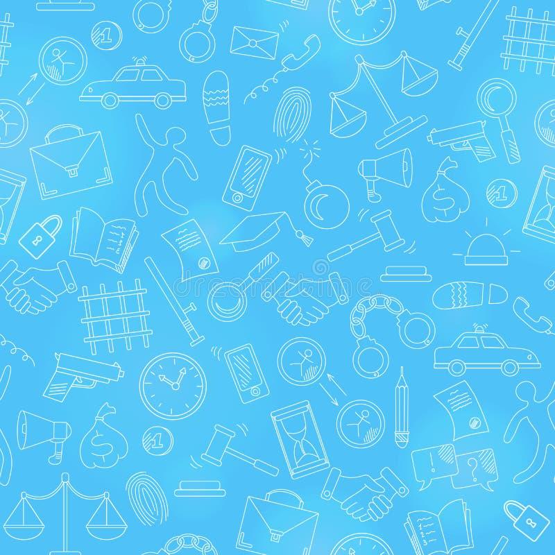 Illustration sans couture avec les icônes tirées par la main sur le thème de la loi et des crimes illustration libre de droits