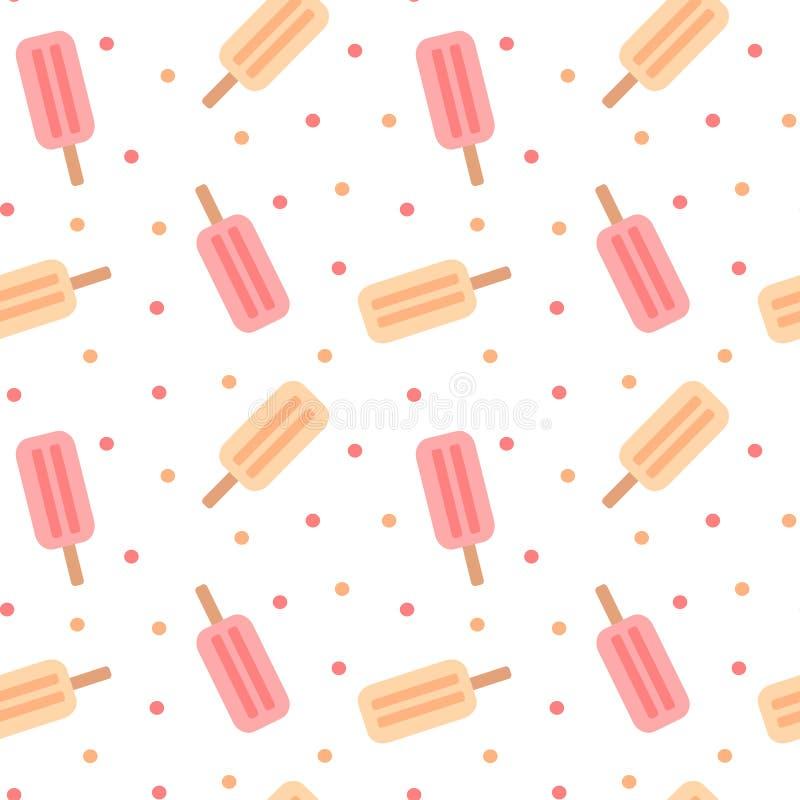Illustration sans couture colorée mignonne de fond de modèle de crème glacée  illustration libre de droits