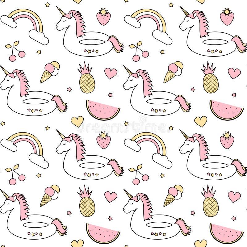Illustration sans couture colorée mignonne de fond de modèle de vecteur avec la licorne de flotteur, arc-en-ciel, crème glacée, a illustration de vecteur