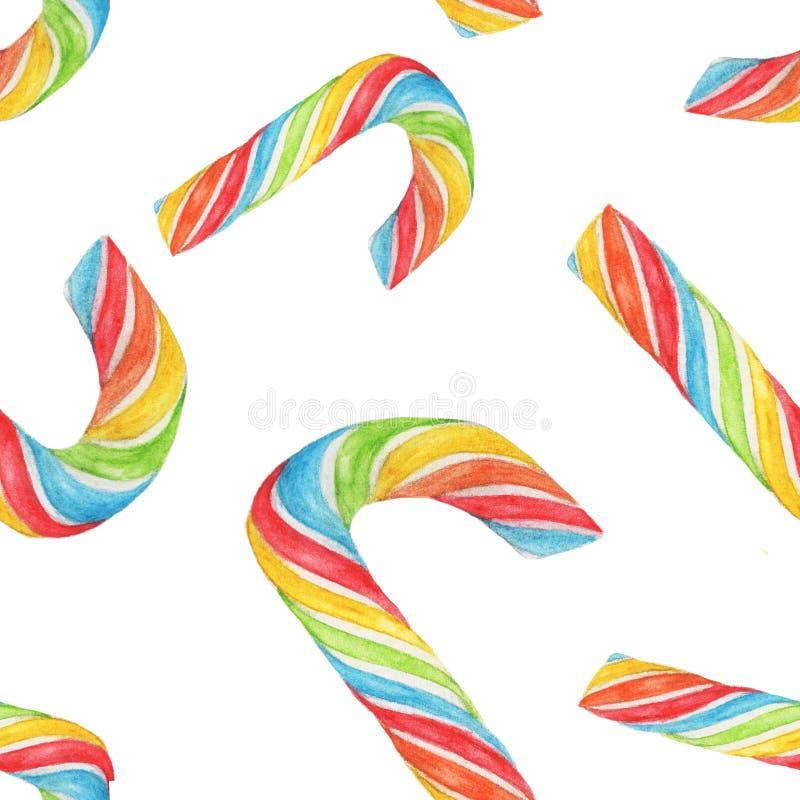 Illustration sans couture d'aquarelle de canne de sucrerie d'arc-en-ciel illustration libre de droits
