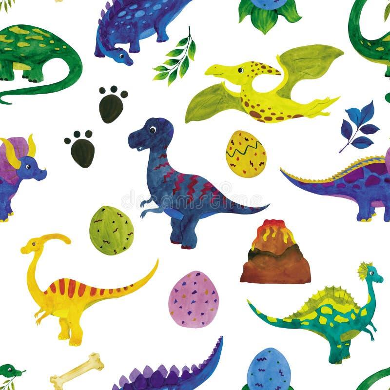 Illustration sans couture d'aquarelle des dinosaures illustration de vecteur